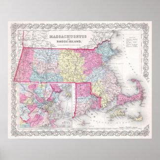 Vintage Massachusetts y mapa de Rhode Island (1855 Póster