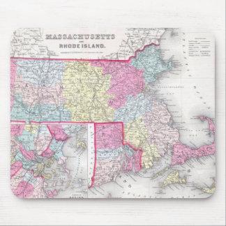 Vintage Massachusetts y mapa de Rhode Island (1855 Alfombrilla De Raton