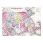 Vintage Massachusetts y mapa de Rhode Island (1855 Tarjetas Postales
