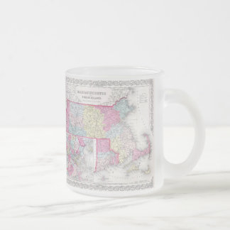 Vintage Massachusetts y mapa de Rhode Island (1855 Taza Cristal Mate