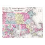 Vintage Massachusetts y mapa de Rhode Island Postal