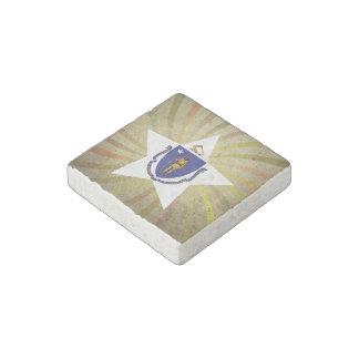 Vintage Massachusettsan Flag Swirl Stone Magnet