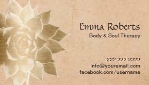 vintage massage therapy gold lotus business card - Massage Therapy Business Cards