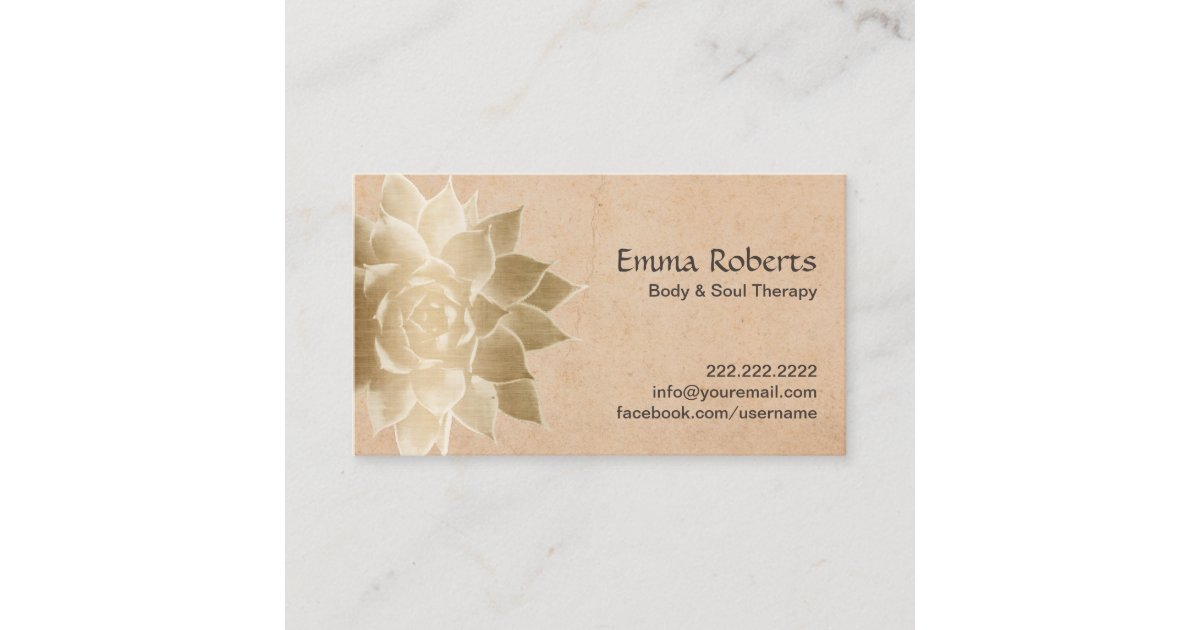 Vintage Massage Therapy Gold Lotus Business Card   Zazzle.com