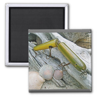 Vintage Masterlure Jointed Eel 2 Inch Square Magnet