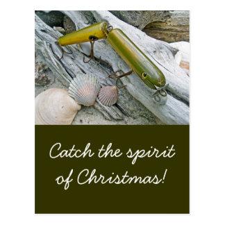 Vintage Masterlure Jointed Eel Christmas Postcard