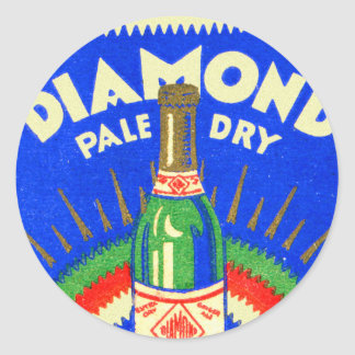Vintage Matchbook Diamond Pale Dry Ginger Ale Classic Round Sticker