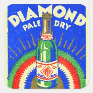 Vintage Matchbook Diamond Pale Dry Ginger Ale Square Sticker