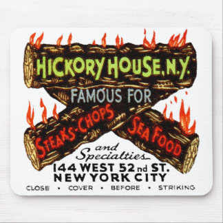 Vintage Matchbook Hickory House NY Steaks Chops Mouse Pad