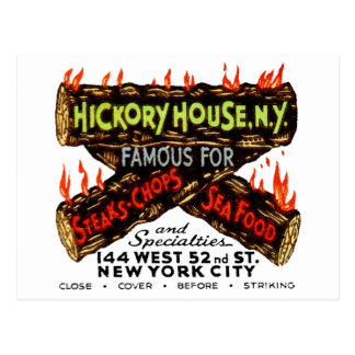 Vintage Matchbook Hickory House NY Steaks Chops Postcard
