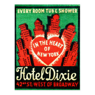 Vintage Matchbook Hotel Dixie New York City Postcard