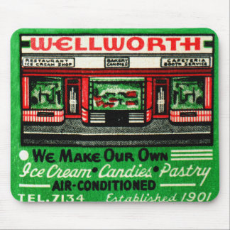 Vintage Matchbook Matches Wellworth Restaurant Mouse Pad