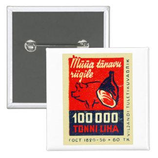 Vintage Matchbox Ham Bone and Happy Hog Button