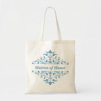 Vintage Matron of Honor Blue Wedding Tote Bag
