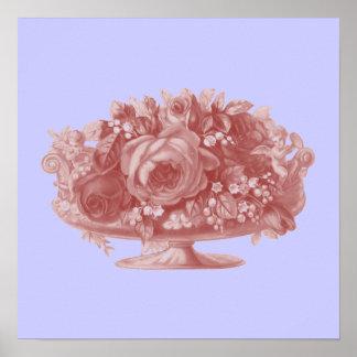 Vintage Mauve Flower Arrangement Print