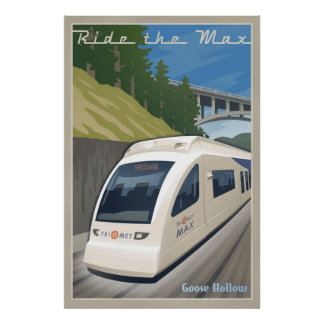 Vintage Max Light Rail Travel Poster