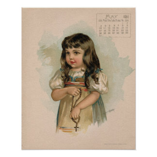Vintage May 1891 beautiful children drawing Poster