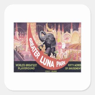 Vintage mayor Luna Park Pegatina Cuadrada