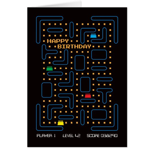 Vintage Maze Computer Game Birthday Card