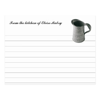 Vintage Measuring Cup Personalized Recipe Cards