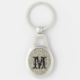 Vintage Measuring Tapes Tailor Silver-Colored Oval Metal Keychain