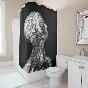 Vintage Medical Anatomy Head Neck Shower Curtain