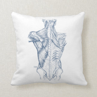 Vintage Medical Drawing Back Muscles Blue (1890) Throw Pillow