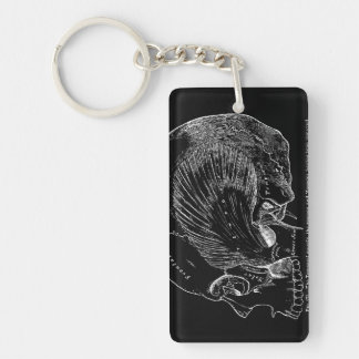 Vintage Medical Drawing Human Temporal Muscle Double-Sided Rectangular Acrylic Keychain