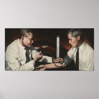 Vintage Medicine, Doctor Examining a Sick Patient Poster