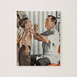 Vintage Medicine, Doctor Seeing a Boy Patient Jigsaw Puzzle