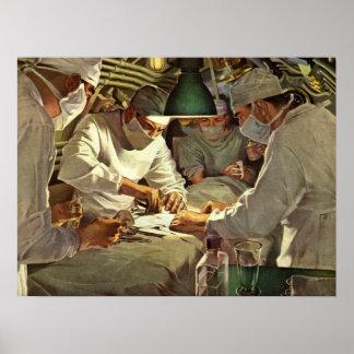 Vintage Medicine, Doctors Performing Surgery in ER Poster
