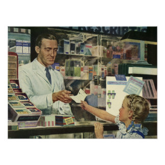 Vintage Medicine, Girl at the Pharmacy Poster