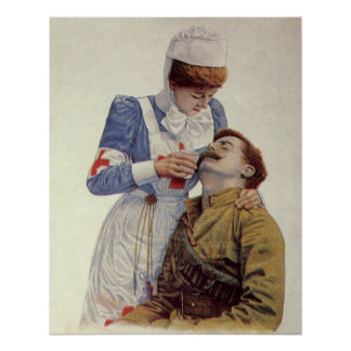 Vintage Medicine, Nurse with Civil War Soldier Poster