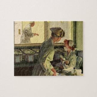 Vintage Medicine, Nurses with Newborn Baby Infants Jigsaw Puzzle