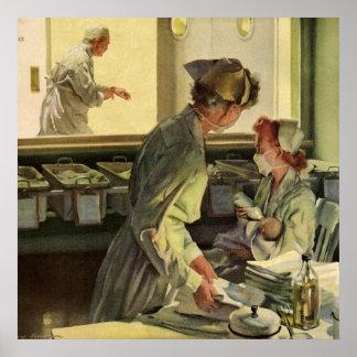 Vintage Medicine, Nurses with Newborn Baby Infants Poster