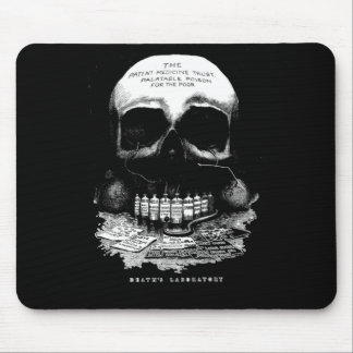 Vintage Medicine Skull and Drugs and Deaths Lab Mouse Pad