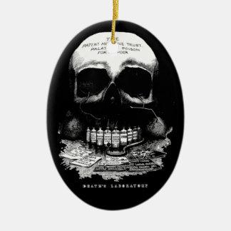 Vintage Medicine Skull and Drugs and Deaths Lab Christmas Tree Ornaments