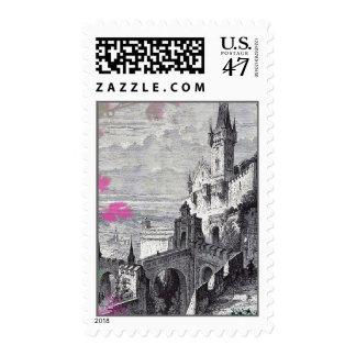 Vintage Medieval Castle Stamp