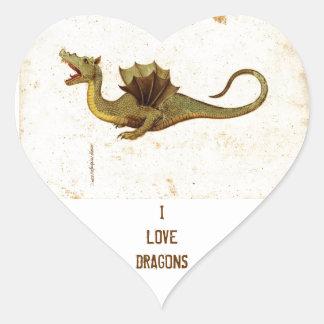 Vintage Medieval Dragon Design Heart Sticker