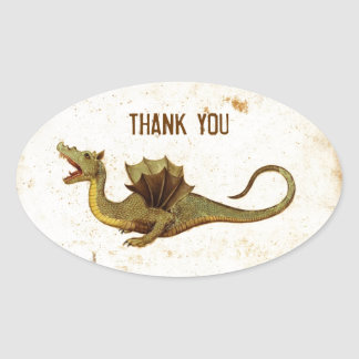 Vintage Medieval Dragon Design Oval Sticker