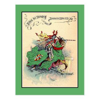 Vintage Medieval knights tournament Bruges Postcard
