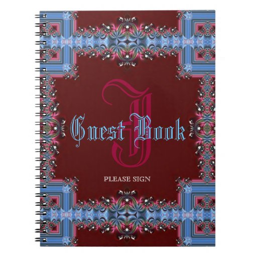 Vintage Medieval Red Blue Lacy Monogram Guest Book Notebooks