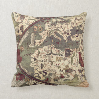Vintage Medieval World Map pillow