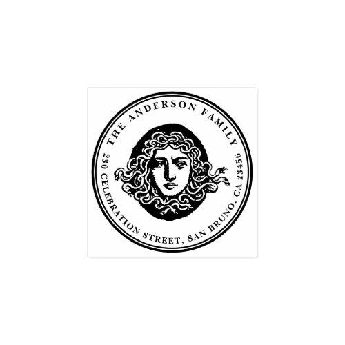 Vintage Medusa Custom Family Name Return Address Rubber Stamp