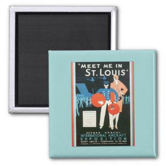 Vintage Meet Me In St.Louis 2 Inch Square Magnet
