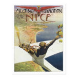 Vintage Meeting D'aviation Nice Postcard