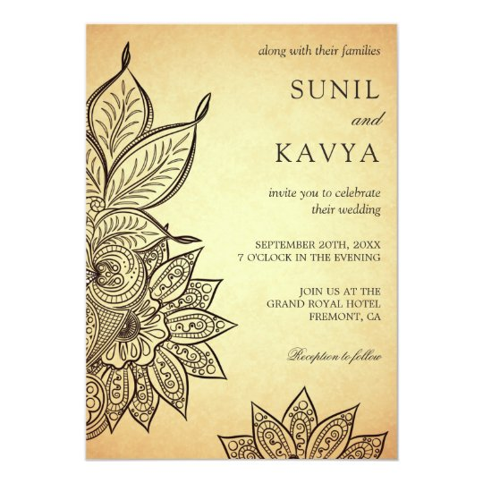 Vintage Mehendi Henna Indian Wedding Invitation Zazzle com