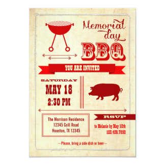 "Vintage Memorial Day BBQ Invitation 5"" X 7"" Invitation Card"