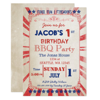 Vintage Memorial Day Birthday party Invitation