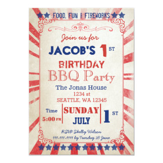 Vintage Memorial Day Birthday party Invitation